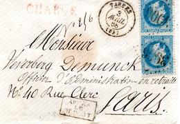 Lettre De Tarbes 1868 - N°29*2  Chargé Rouge - Après Le Départ - Cachet De Chargement  65 Au Verso - Cachet De Cire - 1849-1876: Klassieke Periode