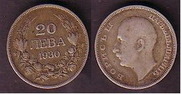 BULGARIA / BULGERIE - 1930 - King Boris - 20 Leva Silver VF - Bulgaria