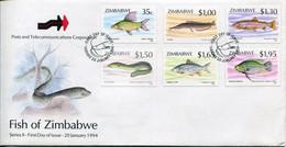 Zimbabwe Mi# 514-9 Used On Official FDC  - Fauna Fish - Zimbabwe (1980-...)