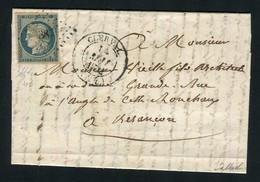 Belle Lettre De Clerval Pour Besançon ( Doubs 1852 ) Avec Un N° 4 - Cachet PC 387 - 1849-1850 Ceres