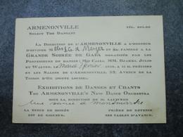 ARMENONVILLE - Select Thé Dansant - Invitation à La Grande Soirée De Gala - 52, Avenue De La Toison D'Or - Mededelingen