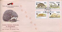 Zimbabwe Mi# 611-4 Used On Official FDC  - Fauna - Zimbabwe (1980-...)