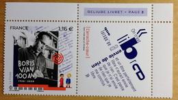 2020 - Y/T N° 5406 - Boris VIAN - 100 Ans - 1920 - 2020 - Neuf ** - BDF - ISSU DU BLOC - Unused Stamps