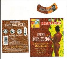 Etiquette Liqueur  PUNCH BOIS BANDE Au Rhum Agricole, Bois Bandé, Gingembre Et Ginseng  - Madras - GUADELOUPE - - Rhum
