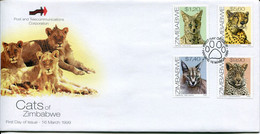 Zimbabwe Mi# 635-8 Used On Official FDC  - Fauna Wild Cats - Zimbabwe (1980-...)