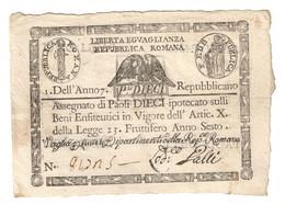 1à Repubblica Romana Assegnati 1798 10 Paoli ( Quadrato ) Dell'anno 7  Q.spl Lotto.2282 - [ 1] …-1946 : Regno