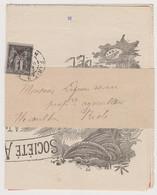 Lettre De 1896 1c Noir Type Sage Pli Sur Bande Avec Facture à Entête Société Artistique De Portraits, Paris - P1 - 1877-1920: Periodo Semi Moderno
