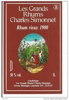 Etiquette   RHUM  Vieux 1980 - Les Grands  Rhums  Charles Simonnet - 50%  1l --  GUADELOUPE  - - Rhum
