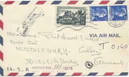 LETTRE PAR AVION POUR LES USA 1957 AVEC 3 TIMBRES TYPES MARIANNE DE MULLER / UZERCHE ET CACHET DE TAXE - 1921-1960: Moderne