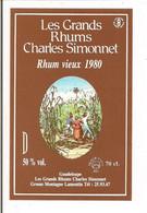 Etiquette   RHUM  Vieux 1980 - Les Grands  Rhums  Charles Simonnet - Médaille Argent 1983 - GUADELOUPE  - - Rhum
