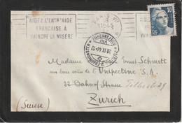 France Timbre N°726 Seul Sur Lettre Pour La Suisse 1946 - Marcophilie (Lettres)