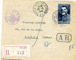 MELUN : Lettre Administrative Imprimée En Recommandée De Melun Pour Paris N°847 (seul Sur Lettre) 1949 - Marcophilie (Lettres)