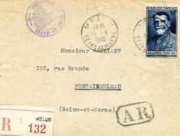 MELUN : Lettre Administrative Imprimée En Recommandée De Fontainebleau Pour Paris N°847 (seul Sur Lettre) 1949 - Marcophilie (Lettres)