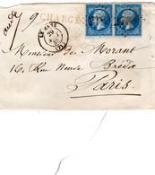 Lettre De LE MANS  (71) 1863 - Paire De N°22 -  Chargé Rouge  - Cachet De Chargement Au Verso - Cachet De Cire - 1849-1876: Klassieke Periode