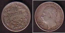 BULGARIA / BULGERIE - 1891 - King Ferdinand - 50St. Silver VF - Bulgaria