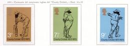 PIA - GRAN BRET - 1973 : Centenario Del Campionato Inglese Di Cricket -  (Yv  684-86) - Nuovi