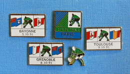 5 PIN'S //  ** COUPE DU MONDE DE RUGBY À XV 1991 / BAYONNE / GRENOBLE / TOULOUSE / PARIS ** - Rugby