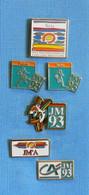 6 PIN'S //  ** JEUX MÉDITERRANÉEN '93 / SÈTE / FOOTBALL /  RUGBY / CRÉDIT AGRICOLE ** - Pin's & Anstecknadeln