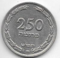 *israel 250 Pruta 1949  Km 15 No Pearl  Xf+/ms60 - Israele