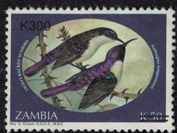 Zambie 2002 Used Surchargé Oiseaux Anthreptes Longuemarei Souimanga Violet - Zambie (1965-...)