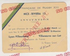 Au Plus Rapide Jeu à XIII Rugby Match Lyon Villeurbanne SA Villeneuve Sur Lot Nice 20 Mars 1938 Invitation Tribune BC - Programmes