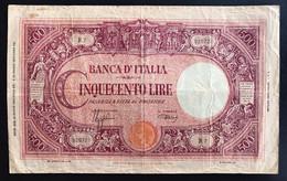 500 LIRE Grande C Fascio 31 03 1943 Bel Biglietto Naturale Q.bb  R2 RR LOTTO 2296 - [ 1] …-1946 : Royaume