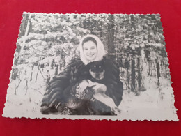 1958 Dog And Women - Fotografía