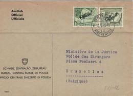 Bern Kirchenfeld Dienst - Schweizer Zentralpolizei-Bureau An Fremdenpolizei Bruxelles 1955 - Servizio