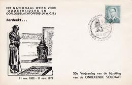 Enveloppe 1066 Het Nationaal Werk Voor Oudstrijders En Oorlogsslachtoffers Onbekende Soldaat Diksmuide - 1953-1972 Bril