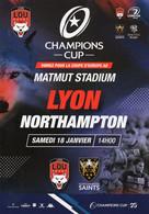 Programme Du Match De Champions Cup  Lyon / Northampton  18 Janvier 2020 - Rugby