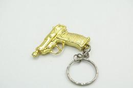 Vintage TOY GUN : Gold Walther P38 - L=4cm - Keychain 1980s - Keywords : Cap - Cork Gun - Rifle - Revolver - Pistol - Decotatieve Wapens