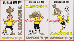 Lot 3 Grote Stickers Sticker Autocollant 1971-72 Kampioen Berchem Sport Football Voetbal Belgie Belgique - Sports