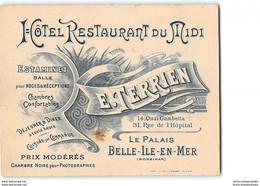Carton Pub Belle Ile Hotel Restaurant Du Midi E. Terrien Le Palais - Belle Ile En Mer