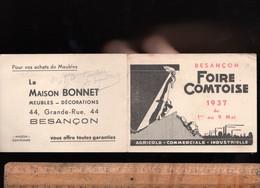 Mini Calendrier 1937 Foire Commerciale Industrielle Comtoise BESANCON Maison BONNET Meubles 44 Grande Rue Besançon - Calendari