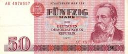 GERMANY DEMOCRATIC REPUBLIC  P. 30a 50 M 1971 UNC - [ 6] 1949-1990 : RDA - Rep. Dem. Tedesca