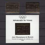 CHAD 1971. Mi #416A-B, Bl25, CV €90, Perf & Imperf, Golden Foil, Olympics - Verano 1972: Munich