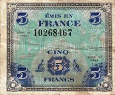 France (Forces Armées Alliées) 5 Francs (P115a) 1944 -VG- - Treasury