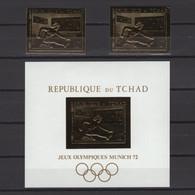CHAD 1970. Mi #336A-B, Bl12, CV €138, Perf & Imperf, Golden Foil, Olympics - Verano 1972: Munich