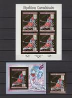 CENTRAL AFRICA 1990. Mi #1416B, CV €150, Imperf, Set Of Sheetlet-stamp-block, Golden Foil, Olympics - Winter 1992: Albertville
