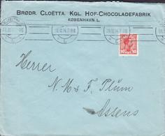 Denmark BRØDR. CLOËTTA. KGL. HOF-CHOCOLADEFABRIK (Chocolate) KØBENHAVN L.  1914 Cover Brief To ASSENS (2 Scans) - 1913-47 (Christian X)