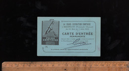 Ticket Billet Carte D'entrée Permanente Foire Exposition Comtoise Promenade Camars BESANCON 1935 - Eintrittskarten