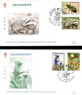 14174107 BE 19741207 Bx; Faune Et Flore, Gentiane, Blaireau, Scarabée, Porcelle; 2 FDC Cob1738-41, ◙blit. Gentiane - Other