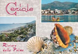 CERIALE - SAVONA - RIVIERA DELLE PALME - 2 VEDUTE - CORNICE CON CONCHIGLIE - SHELL - 1973 - Savona