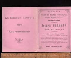 Tarif 1919 Huiles D'olive Savons Cafés JOSEPH CHABRAN à SALON DE PROVENCE Bouches Du Rhône - Publicidad