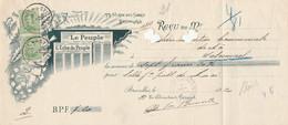 """Reçu Du Journal """"Le Peuple - """"L'echo Du Peuple"""" -cachet Violet Presse Socialiste Bruxelles - 1915-1920 Albert I"""