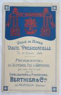 Rare Nimes 1924 Programme Du Feu D'Artifice Visite Président Doumergue Pyrotechnie Berthier & Cie Monteux - Programmes
