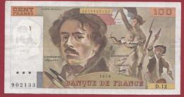 """100 Francs """"Delacroix"""" 1979----ALPH. D.12-- DANS L 'ETAT - 100 F 1978-1995 ''Delacroix''"""