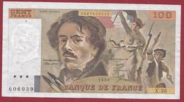 """100 Francs """"Delacroix"""" 1980----ALPH. X.36-- DANS L 'ETAT - 100 F 1978-1995 ''Delacroix''"""