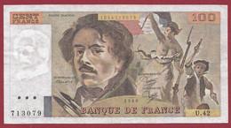 """100 Francs """"Delacroix"""" 1980----ALPH. U.42-- DANS L 'ETAT - 1962-1997 ''Francs''"""