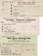 Saigon 3 Chèques 1960 Banque Franco-Chinoise Crédit Commercial Du Vietnam Indochine Chine Chèque Cheque Asie - Cheques & Traverler's Cheques